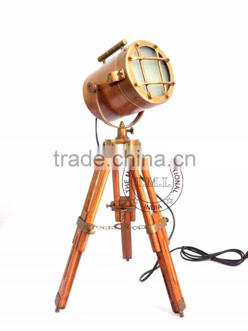 SPOTLIGHT ON WOODEN TRIPOD STAND - SPOTLIGHT WITH STAND - COPPER ANTIQUE SEARCHLIGHT WITH STAND