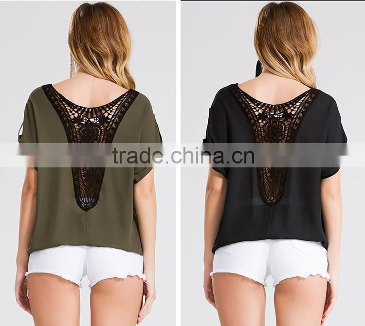 2016 Summer Women Round Neck Pleated Crop Tops Ladies Short Sleeve Tabs Lace Back Hollow Out Chiffon Blouses Elegant Design