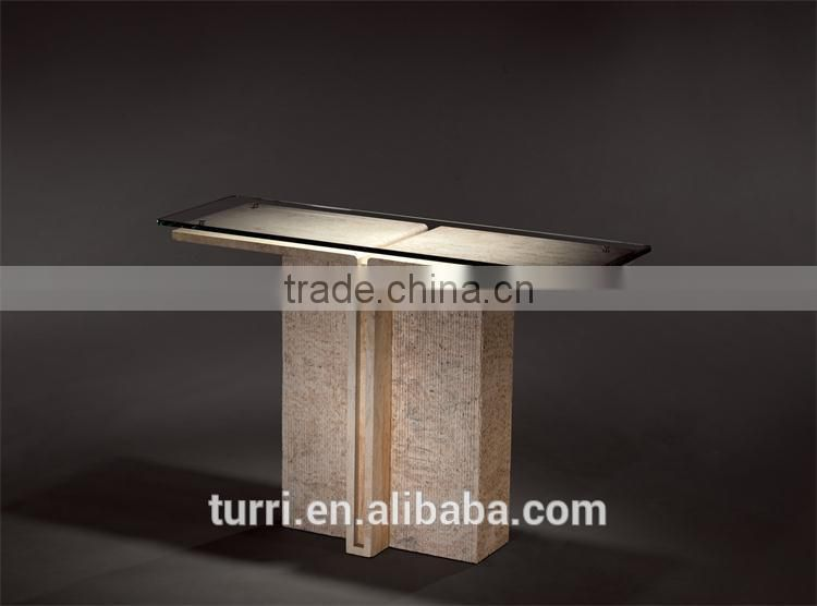 Latest design Iran travertine marble TV stands glass top