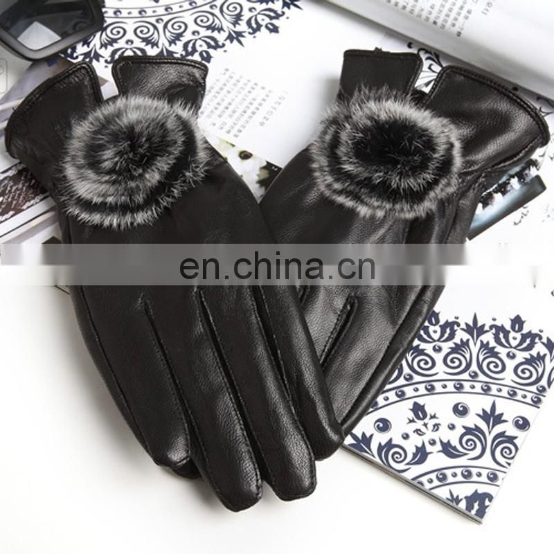 Women genuine leather gloves with rabbit fur accessory