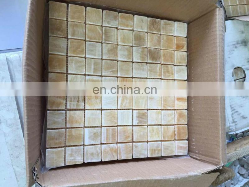 yellow honey onyx mosaic tile