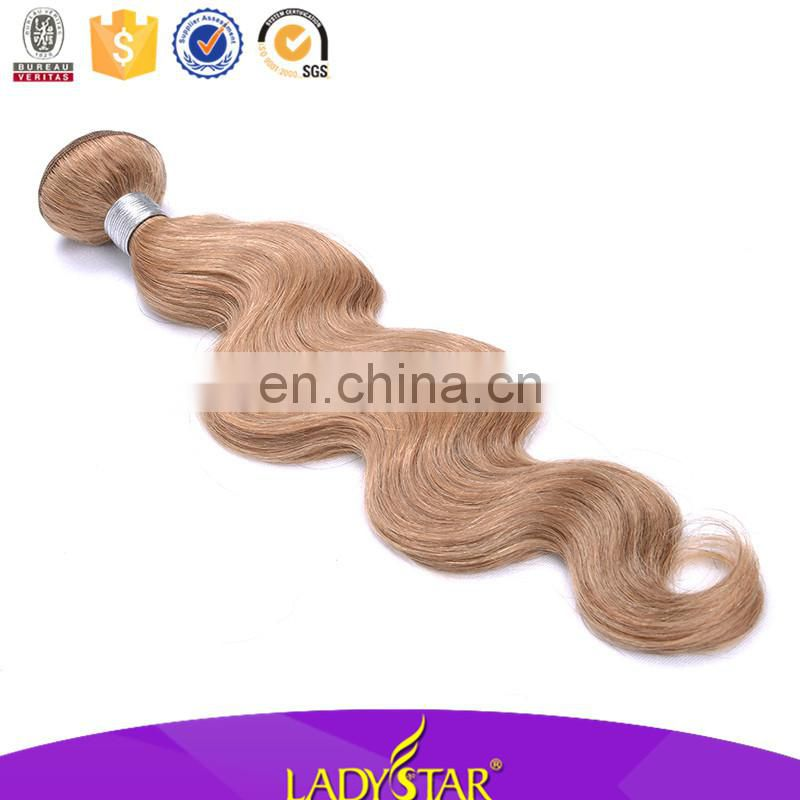 Lady star human hair body wave colored brazilian hair weave, honey blonde brazilian hair weave