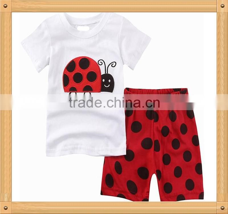 2016 Wholesale Children's Boutique Clothing For Baby Summer Sets With Cartoon Tu Printing
