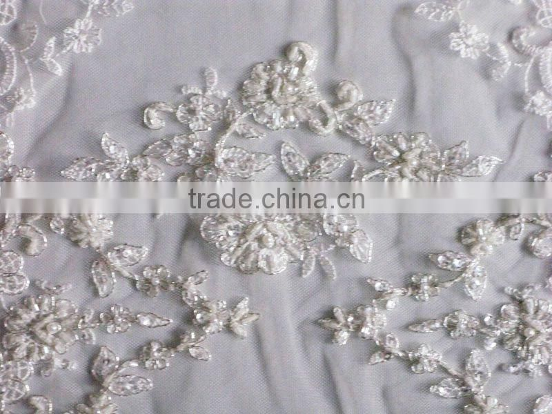 Eyelash and beading decoratived double sided lace trim