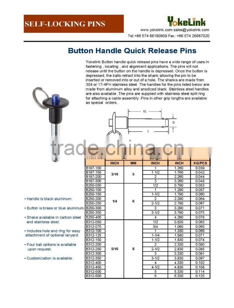High strength Aluminum handle button handle quick release pin ball lock pin for speaker line array system