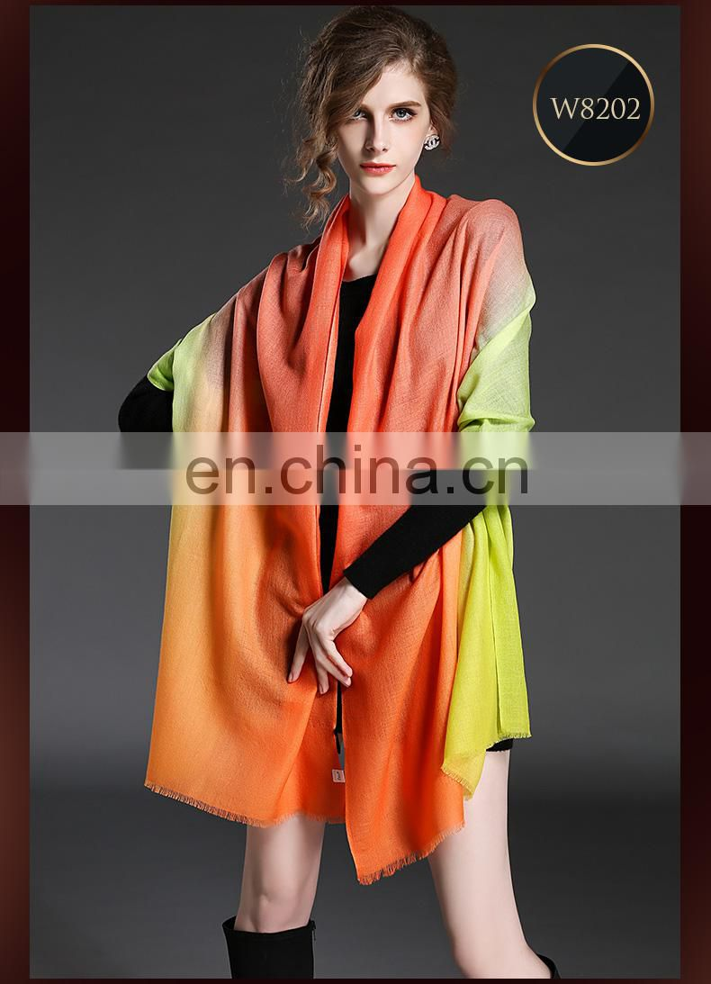 Winter scarf 100% wool gradient lady scarf wholesale scarf orange