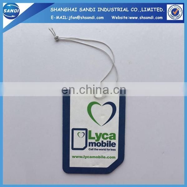 Promotional custom hanging auto air freshener with printing