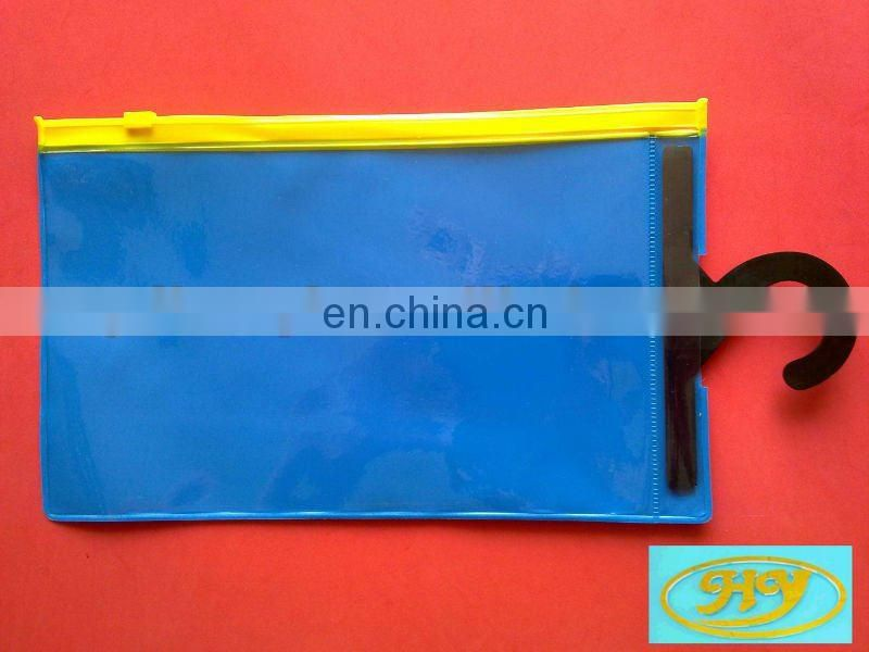 transparent clear vinyl pvc zipper bag with black hanger for garment
