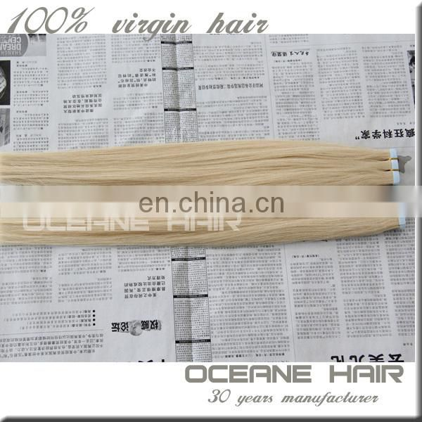 New products on China market American blue blonde 613 tape remy hair weave hair extension