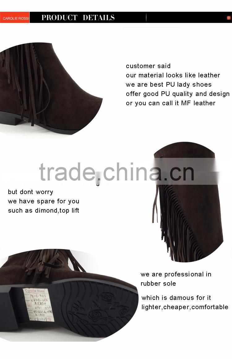Suede Upper Knee High Flat Sole Tassels Boot new products 2016