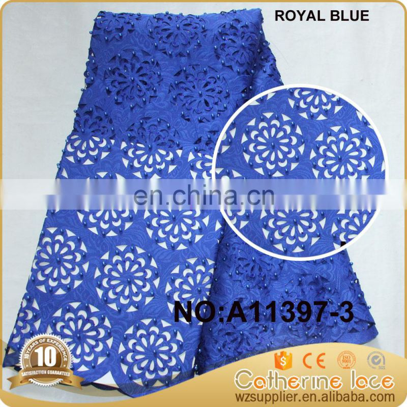 New Fashion beaded laser cut lace fabric for wedding dress