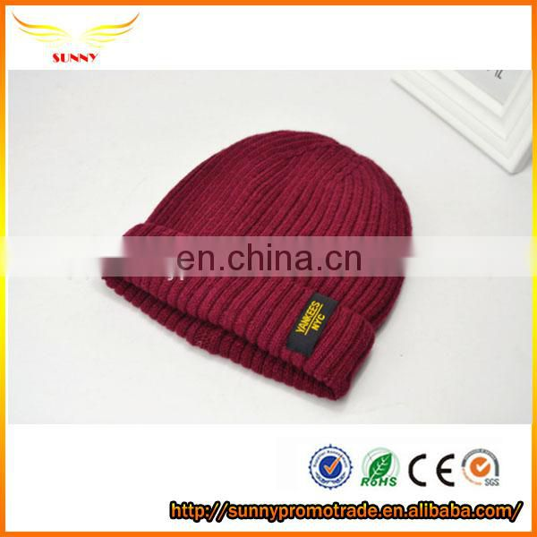 China quality 100 Acrylic or wool Long Knit Label Winter Slouchy Beanie