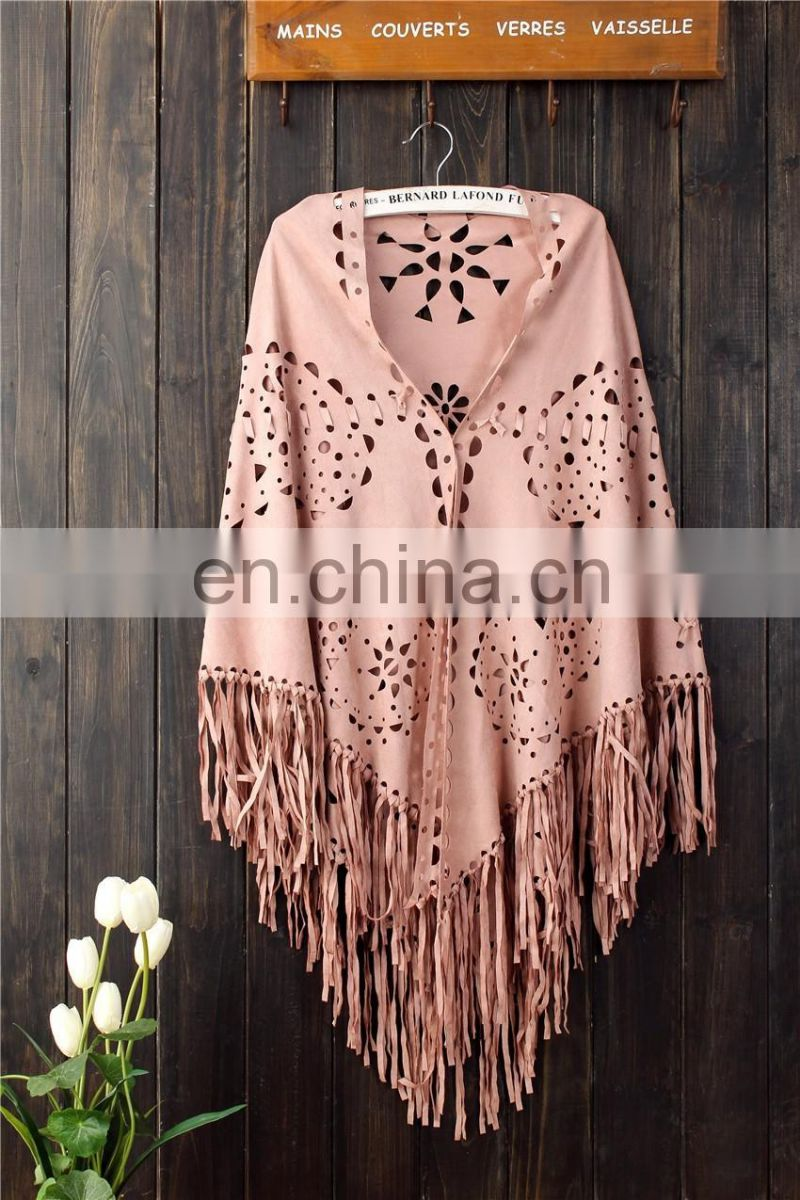 2016 red fashion Suede Fabric shawl scarf with fringe Women custom tassel faux suede pure color shawl
