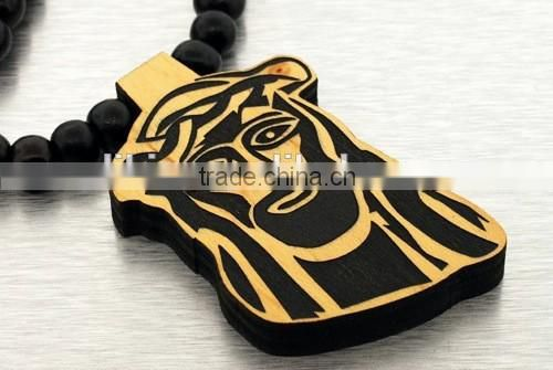 Wooden Jesus pendant Chain wooden necklace good beads wood macrams hip hop Jay Z