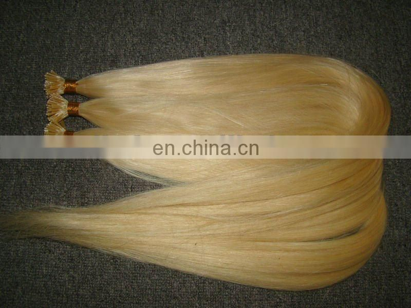 Popular Blond Tangle free high quality keratin prebonded remy hair extension