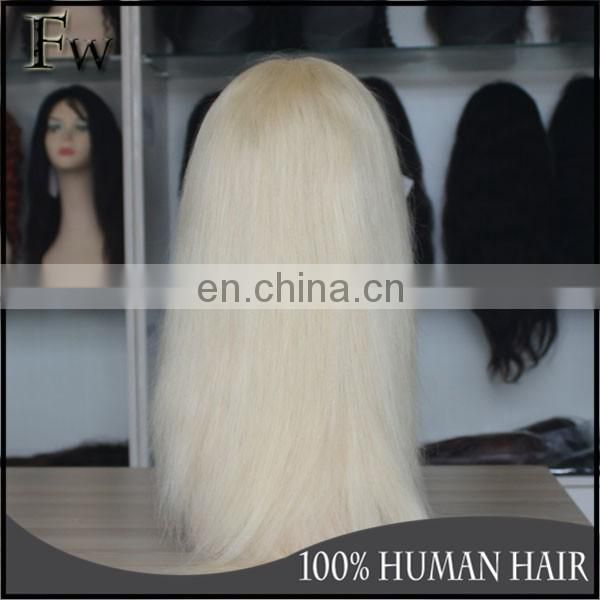 Qingdao facetory human hair u part wig white women lace wigs