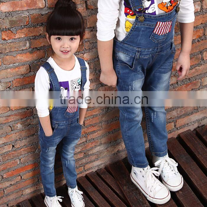 Children denim suspender trousers and Tshirt children suit, baby girls overalls and TshirtFor Children Wear