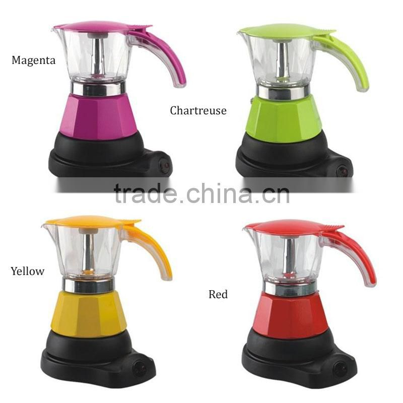 Espresso colorful 4 cups electric aluminum coffee pot