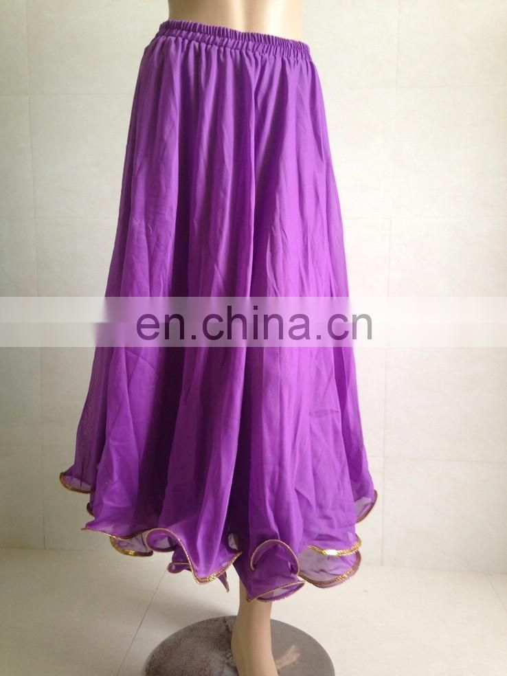 Arabic long chiffon sequins belly dance skirt for women Q-6022#