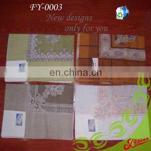 Custom-made Square-printed Fashion Polyester Shawl with fringes
