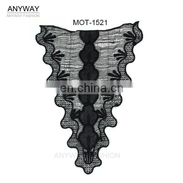 Factory direct embroidery cord collar lace;collar lace trim;crochet neckline with PU