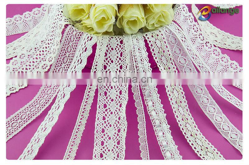 Stock lace trim, custom size 100% cotton embroidery lace