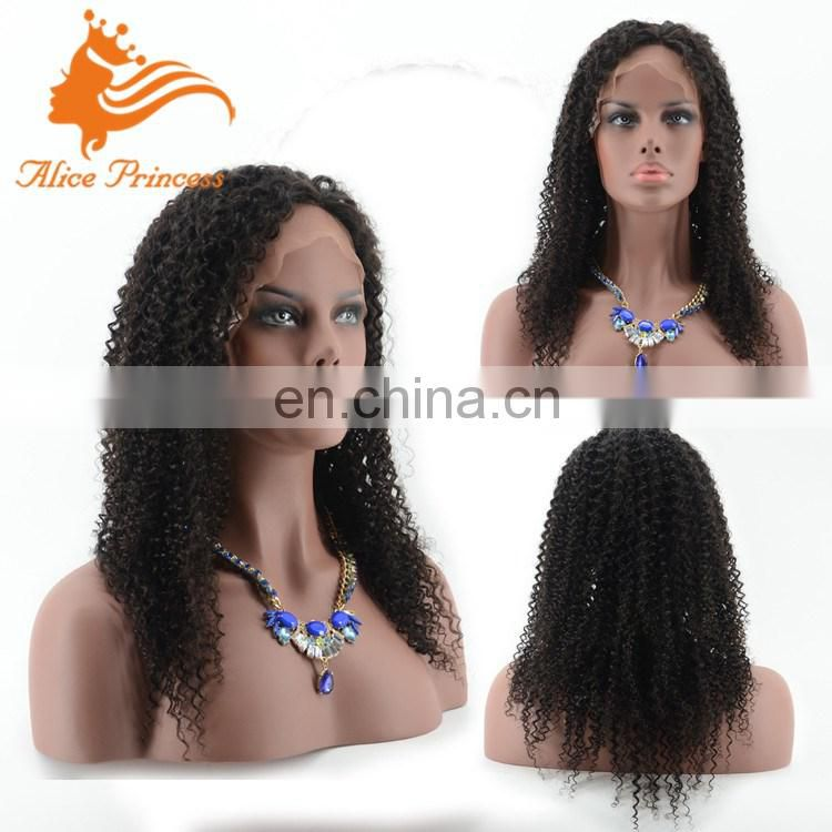 Highest Quality Aliexpress Hot Sale Virgin Human Hair Lace Wig Kinky Curly Hair Wig