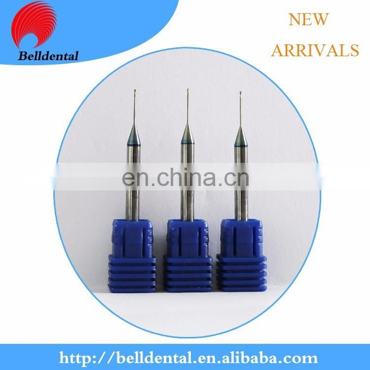 New Arrivals CAD CAM System DLC Coating Dental 0.6 1.0 2.0 Zirconia Milling tools s for roland milling machine