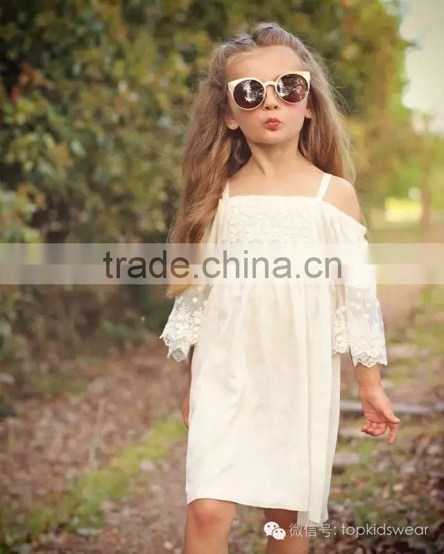 2016 Brand Children Clothing New Style Gallus Lace Leakage Shoulder Dress Girl Dress Long Kids Dress