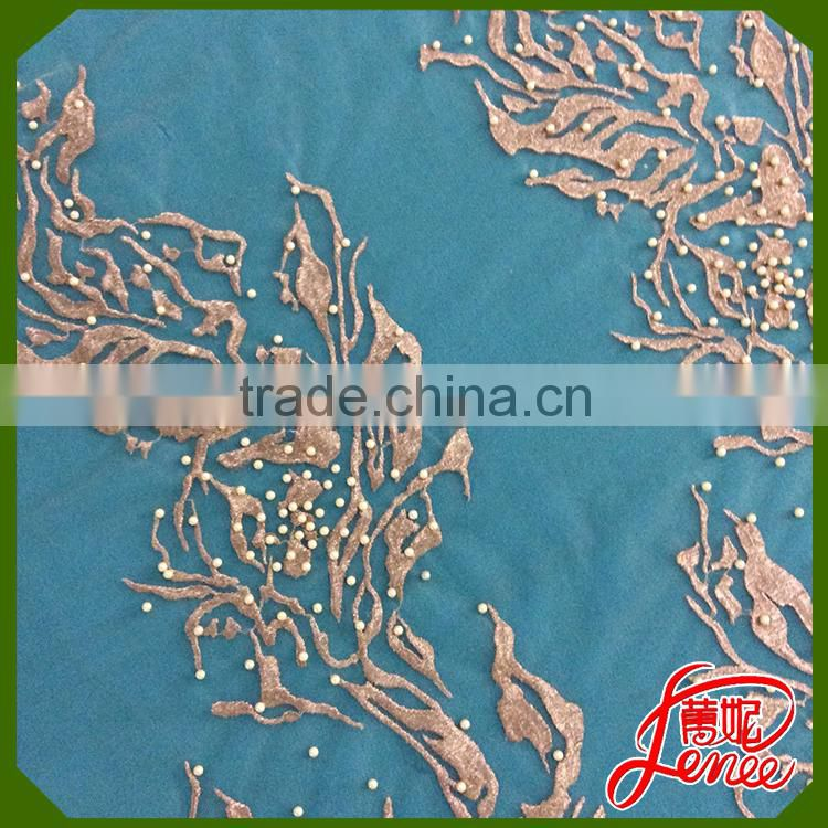 Wholesale Price Gold Thread Handmade Pearl Decoration Mesh Embroidery Fabric For Wedding Dress