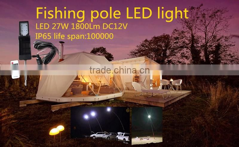 Guangzhou lighting accessories 2016 innovative install on fishing pole led 27W DC12V camping activities light W5001