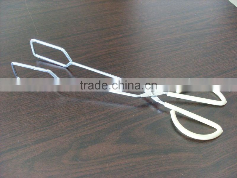 Good Quality Food tong iron with chrome plate plastic coating handle