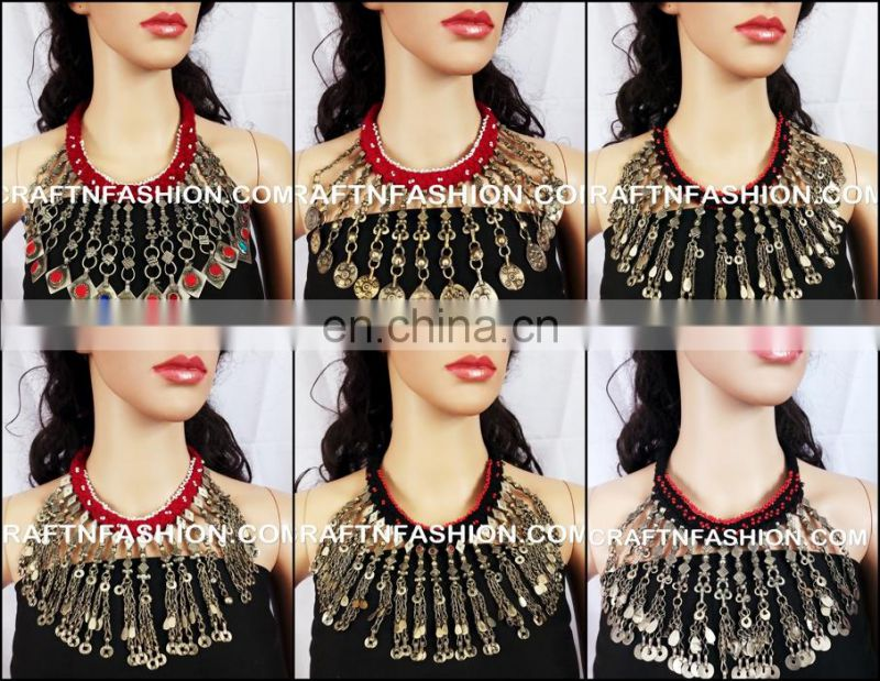 Indian Designer Tribal Fusion Jhummer Necklace-Antique Afghan Jhumka Necklace- Vintage Kuchi Tribal Necklace