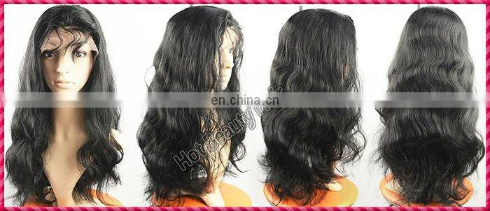 Hot Beauty Human Hair Lace Front Wigs with Bangs Body Wave Fashion