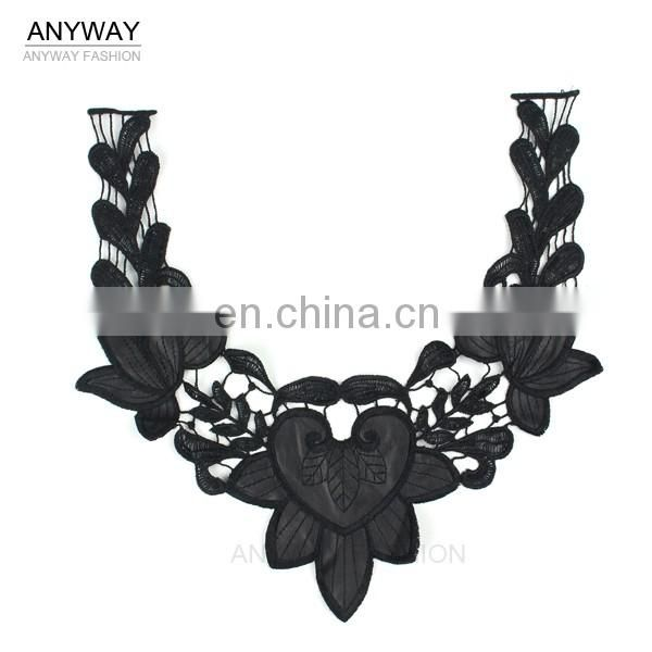China factory wholesale lace collar with pu;black lace collar;elegant soluble lace collar for ladies garment
