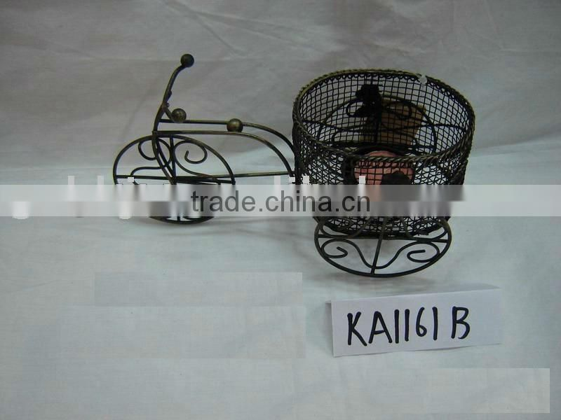 Black iron wire car shaped wine bottle basket home decor