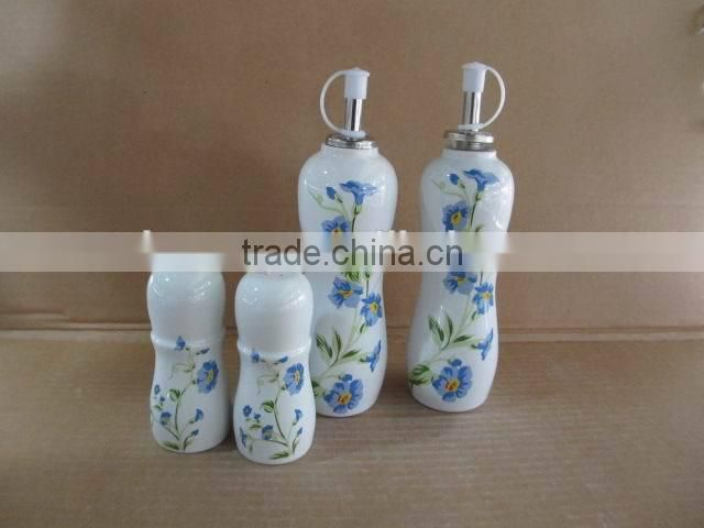 4pcs of Rectangle Ceramic kitchen oil olive vinegar bottle salt pepper set