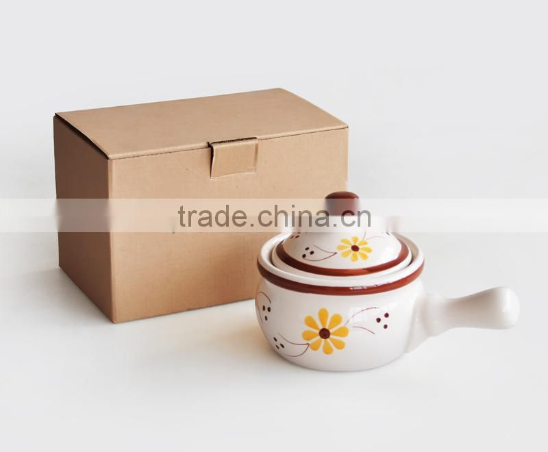 Hand Painting Ceramic Stock Pot with Handle and Lid