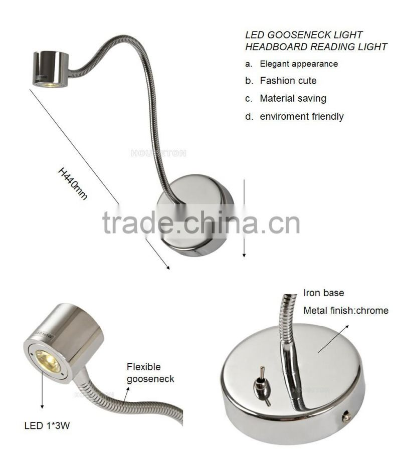 led gooseneck hotel bedside reading lamp,gooseneck hotel bedside reading lamp,hotel bedside reading lamp WL1022