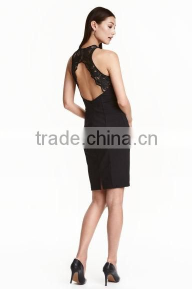 Black One piece Stretch fabric Jersey lace insert Dress Elegant, Backless Designer Dresses