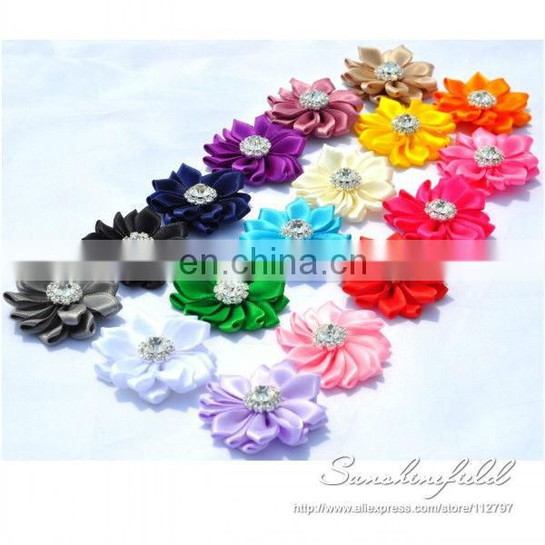 2013 Hot Sale Mini Satin Ribbon Flower With diamond DIY Flowers Girl's Hair Accessories sunshine field