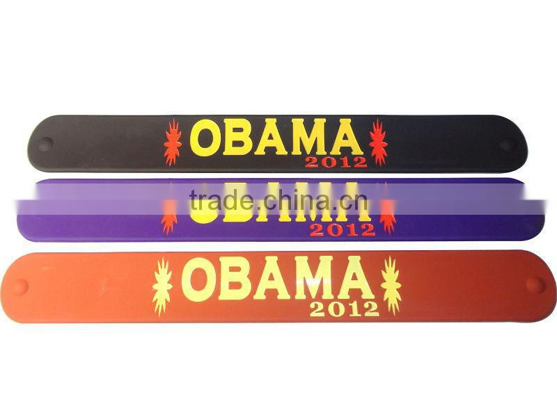 Fashion sport name engraved silicone rubber slap bracelets man hand bracelet
