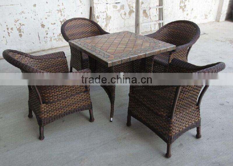 Marble Top Fiber Dining Table Set