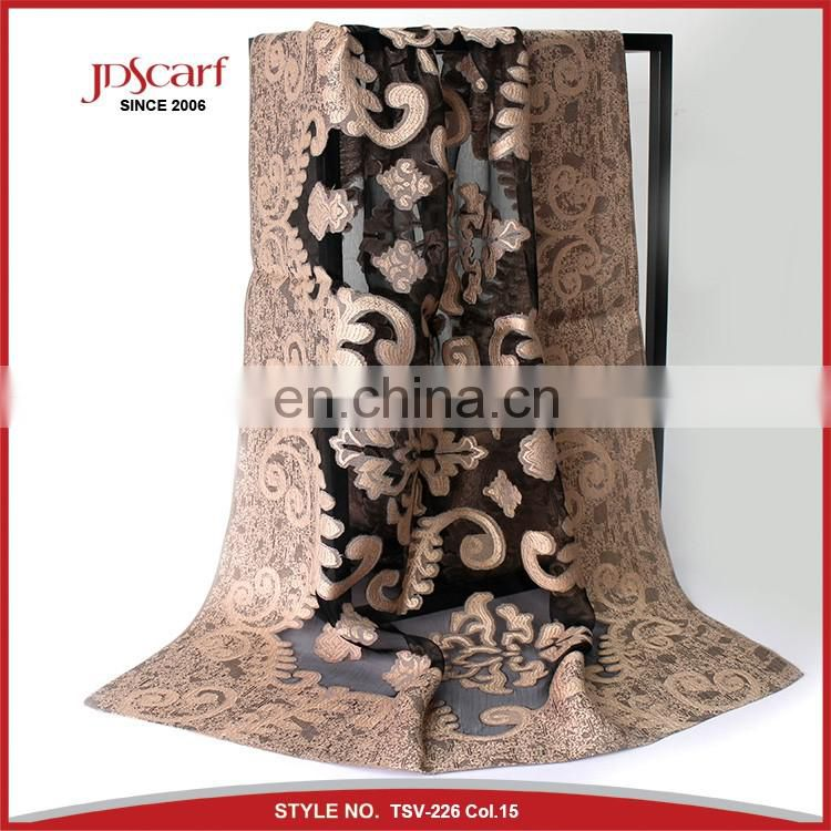 Super quality burnout flower pattern silky viscose shawl scarf