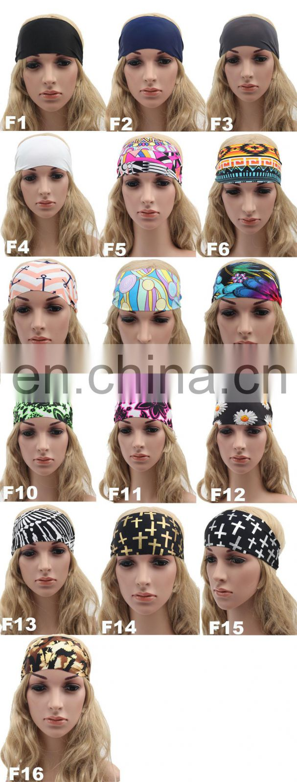 Girls fashion sports coverd elastic yoga Spandex fabric hair bands