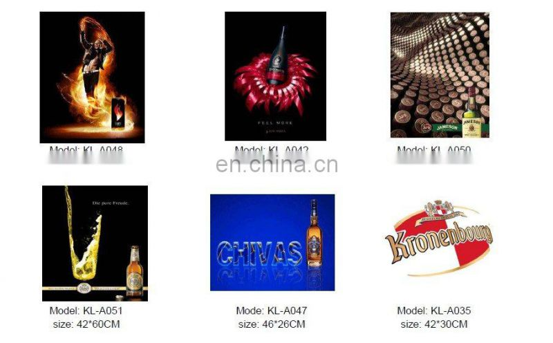 indoor light up beer advertisement poster ,EL Flashing lighting panel /OEM design el advertisment
