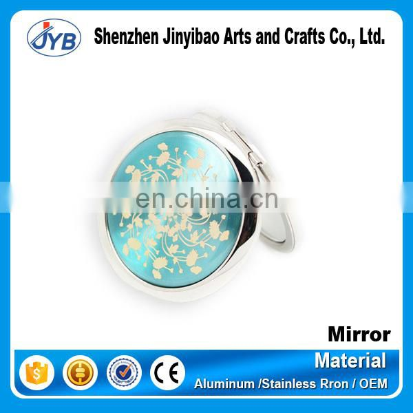 high end wholesale bling heart shape cosmetic mirror with keychain