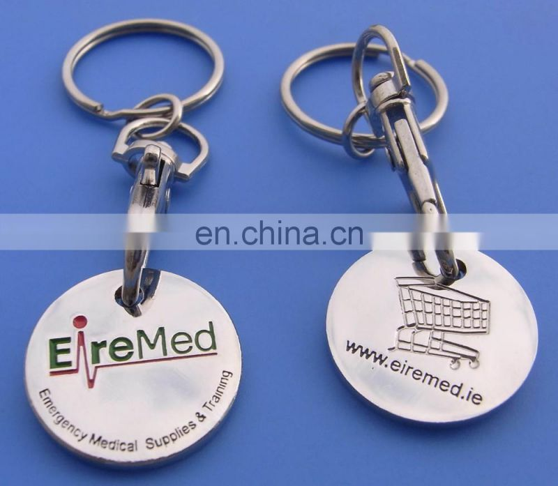 printed logo trolley coin keyrings
