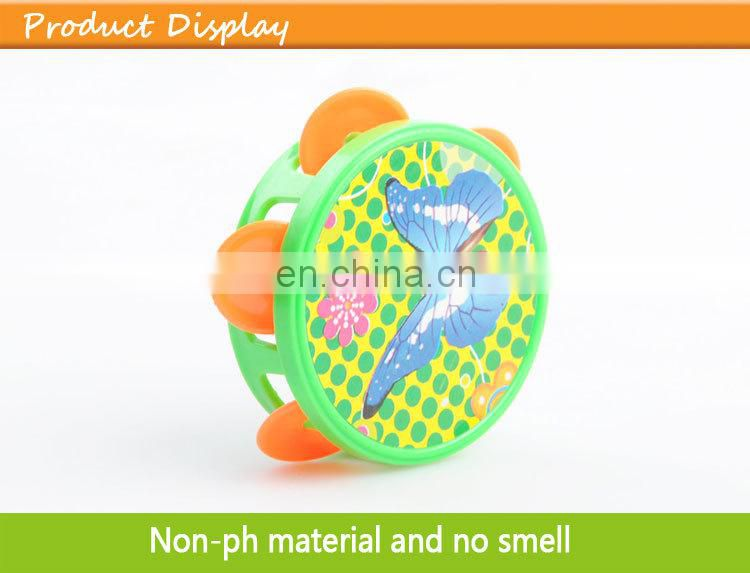 Hot sale import baby musical instruments plastic mini tambourine child