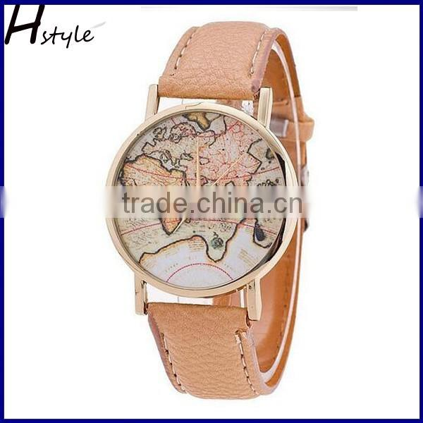 2016 Hot Sale Quartz Womens Watches Retro World Map Design Leather Alloy Band Analog Ladies Wrist Watch WP011
